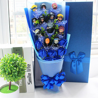 Hot Naruto Sasuke Uzumaki Kakashi Gaara Action toy Bouquet With Box Graduation Birthday child Gift