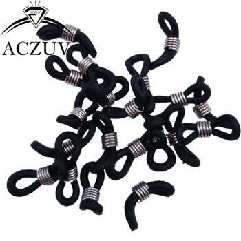 500pcs 20x5mm Rhodium Adjustable Black Rubber Glasses Lanyard Cord Ends for Sunglass Eyeglass Chain Holder Accessories RGL003
