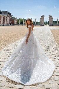 Image 2 - Boho 2020 קו תחרת אפליקציות סקסית ללא משענת חתונת שמלות לבן נסיכת כלה שמלה בתוספת גודל gelinlik