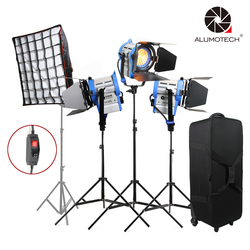 ALUMOTECH Dimmer Built-in 650WX3+Softbox Fresnel Tungsten Spot Light For Film Camera Video Studio Photography Lamp