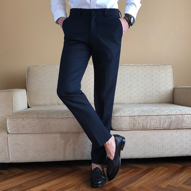 Phenomenal Us 19 98 20 Off Classic Solid Color Suit Pants Black Navy Blue Slim Elegant Mens Pant Formal Wear Trousers Size 28 38 In Suit Pants From Mens Machost Co Dining Chair Design Ideas Machostcouk