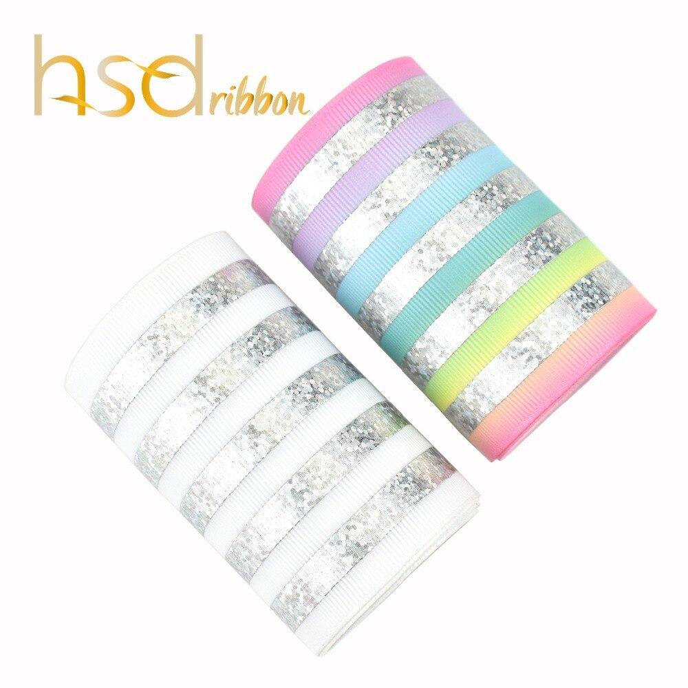 HSDRibbon 75mm custom Rail silver Laser Foil Printed White and HT Grosgrain Ribbon