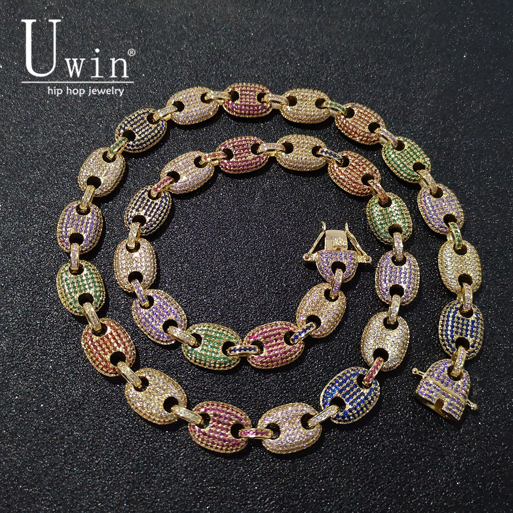 UWIN Coffee beans Necklace Puffed Marine Chain 13mm Hip hop Link Gold Silver Multicolor Fashion Punk