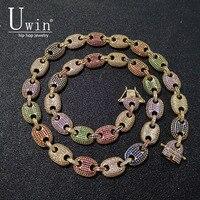 UWIN кофе ожерелье с элементами бобовидной формы пыхтел морской цепи 13 мм хип хоп ссылка цвета: золотистый, серебристый Многоцветный модные п...