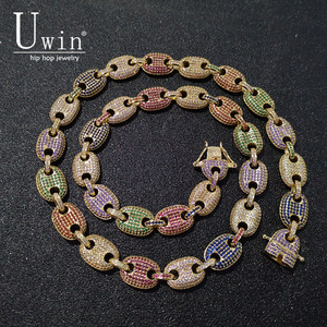 Image 1 - UWIN Coffee beans Necklace Puffed Marine Chain 13mm Hip hop Link Gold color Multicolor Fashion Punk Choker Charms Jewelry