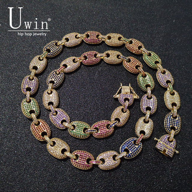 UWIN Coffee beans Necklace Puffed Marine Chain 13mm Hip hop Link Gold color Multicolor Fashion Punk Choker Charms Jewelry