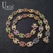 UWIN กาแฟถั่วสร้อยคอ Puffed Marine CHAIN 13 มม.Hip Hop Link GOLD สี Multicolor แฟชั่น Punk Choker Charms เครื่องประดับ