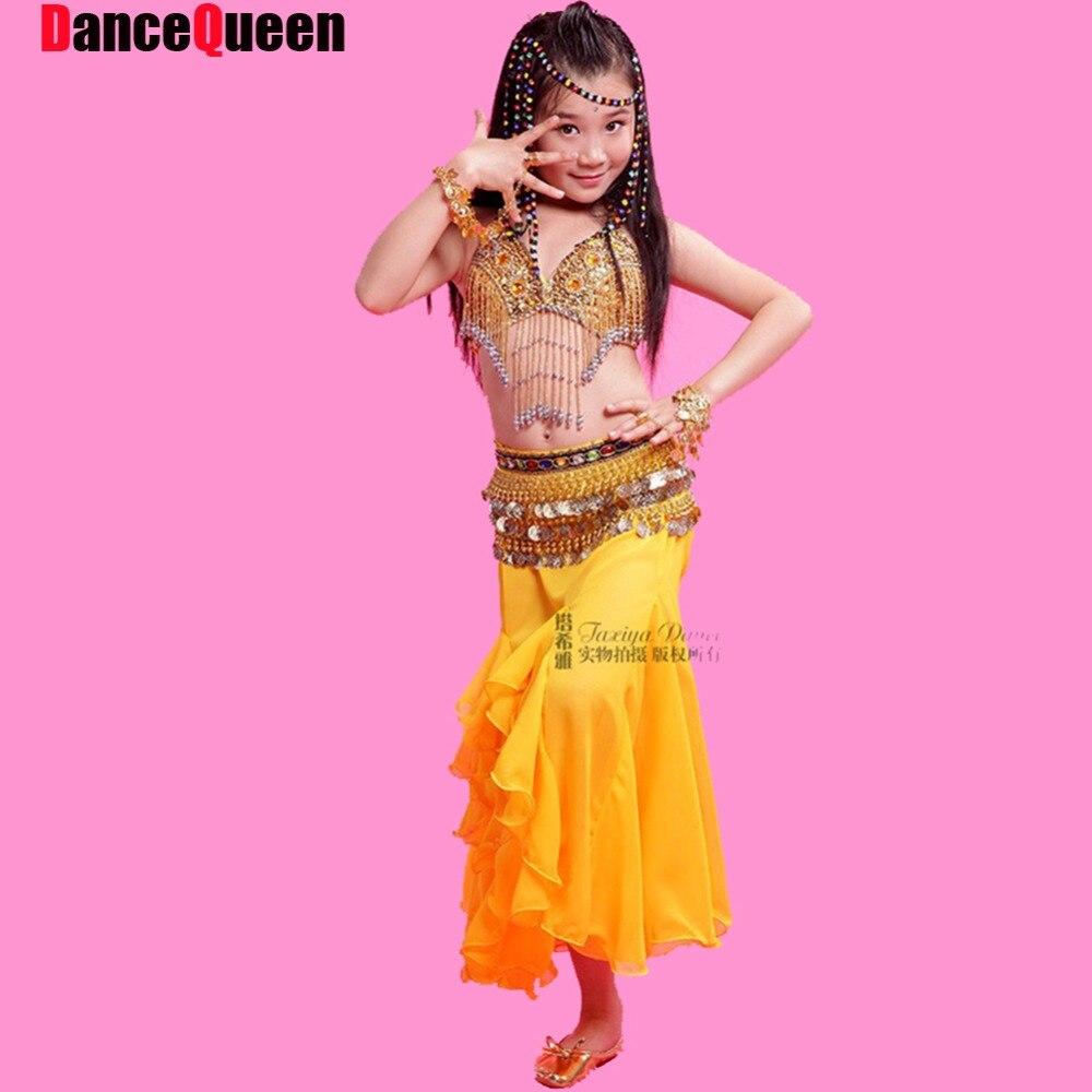 2017 Девушки Belly Dance Dress 2 Шт. Бюстгальтер и Юбка Дети Одежда Для Танцев Ребенка Belly Dancer Костюм Красный/роза/Желтый Индийской Одежды