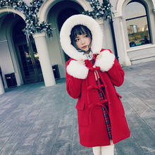 Princess sweet lolita student sweater BOBON21 Christmas New Year red fox hair Woolen coat C1434