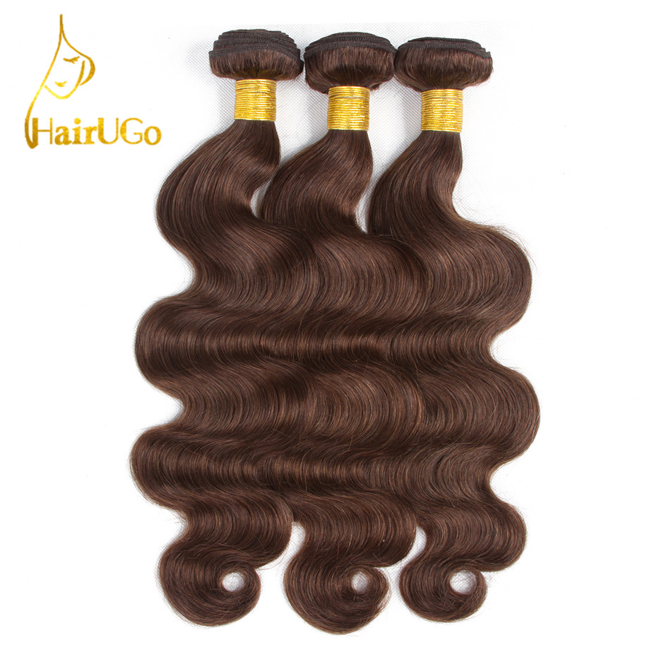 HairUGo Hair Pre-colored Peruvian Body Wave Hair 4 Bundles #4 Color Non Remy 100% Human Hair Weave Bundles Extensions