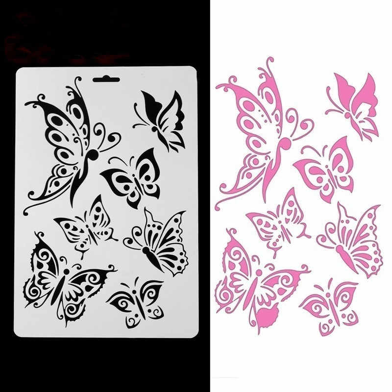 3pcs Butterfly Stencils For Wall Painting Diy Scrapbooking Photo Album Paper Card Making Craft Decorative Embossing Template Stamps Aliexpress
