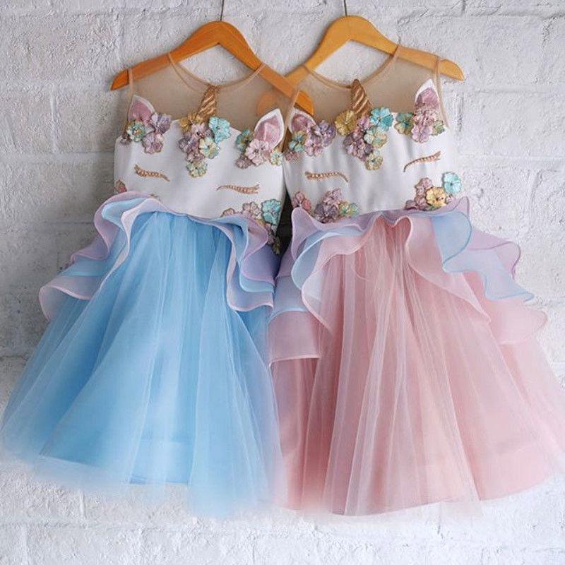 Pudcoco Chiffon Baby Girls Unicorn Princess Dress Toddler Wedding Party Formal Lace Ball Gown Dress 2018