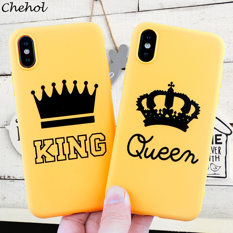 King Queen Crown Phone Cases for iPhone X XS MAX XR 8 7 6s Plus Couple Soft Silicone Fitted Case Mobile Phone Covers Accessories dial vision adjustable lens eyeglasses