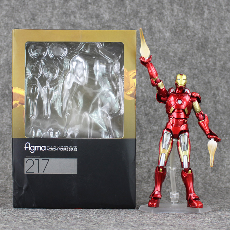 Hot 17cm The Superheroes Iron Man Figma 217 ironman PVC Action Figure Collectible Model Toy 14cm super sonico supersonico movable figma figma ex 023 pvc action figure collectible model toy children toy gift with box