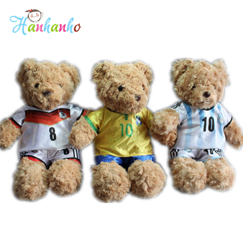 High Quality 25cm Football Teddy Bear Plush Toy Stuffed Animal Soft Bear Gift For Boyfriend 2pcs 12 30cm plush toy stuffed toy super quality soar goofy