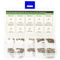 M2 M2.5 Hexagon Socket Set Screws with Cup Point Assortment Kit,M2 M2.5 Cup Point Grub Screws,Stainless Steel,200 PCS