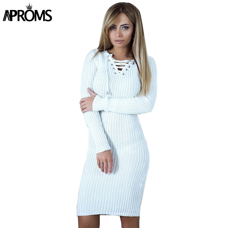 Aproms Winter Warm Long Sleeve Knitted Ribbed Dress Women V neck Lace Up Tunic Dress Female