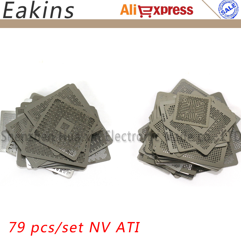 79pcs/set Nvidia/ATI Chip Direct Heating VGA Card BGA Stencil BGA Reball Kit Bga Reballing Stencil Kit
