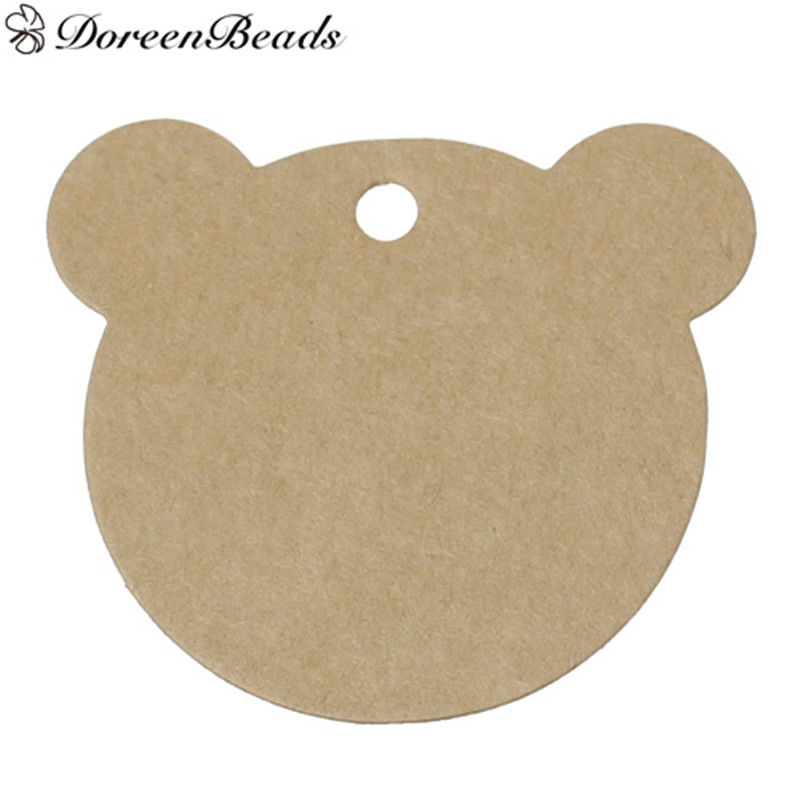 DoreenBeads Paper Label Tags Bear Brown Blank DIY Gifts Crafts Price Tags Luggage Tags Party Decoration 6x5.4cm,50PCs/Set