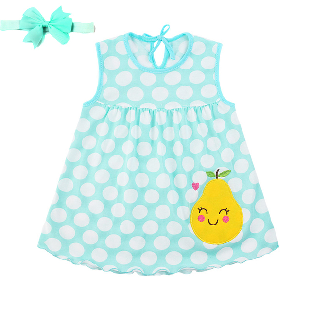 Top Quality Baby Dresses 2019 Princess 0-1years Girls Dress with Headband 100% Cotton Flower Print Summer Infant Girls Clothes