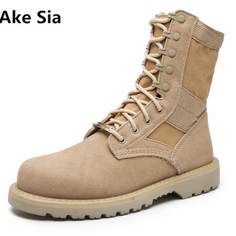 Ake Sia Ankle Boots Men Martin Boot 2017 Suede Canvas Outdoors Military Desert Boot Casual Working Shoes Chaussure Homme men s desert military boots touch guy cow suede genuine leather ankle martin boot