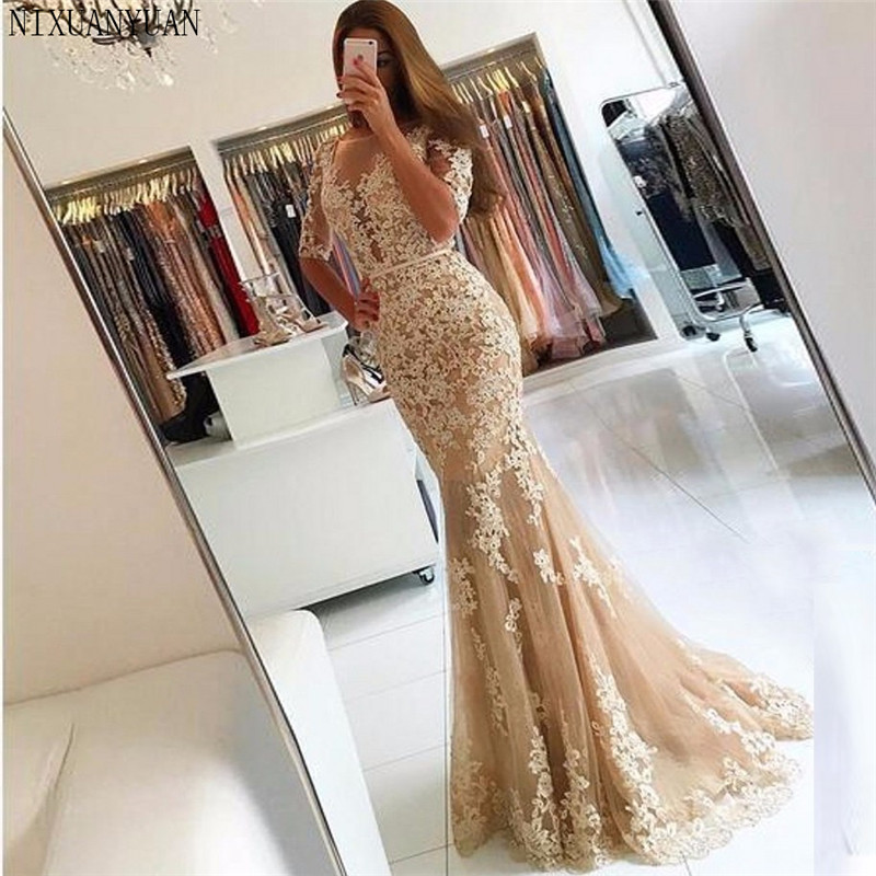 Champagne 2019   Prom     Dresses   Mermaid Tulle Appliques Lace Backless Party Maxys Long   Prom   Gown Evening   Dresses   Robe De Soiree