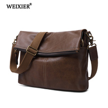 WEIXIER 2019 High Quality Business People Genuine Leather Solid Color Classic Design Large Capacity Handsome Mens Messenger Bag