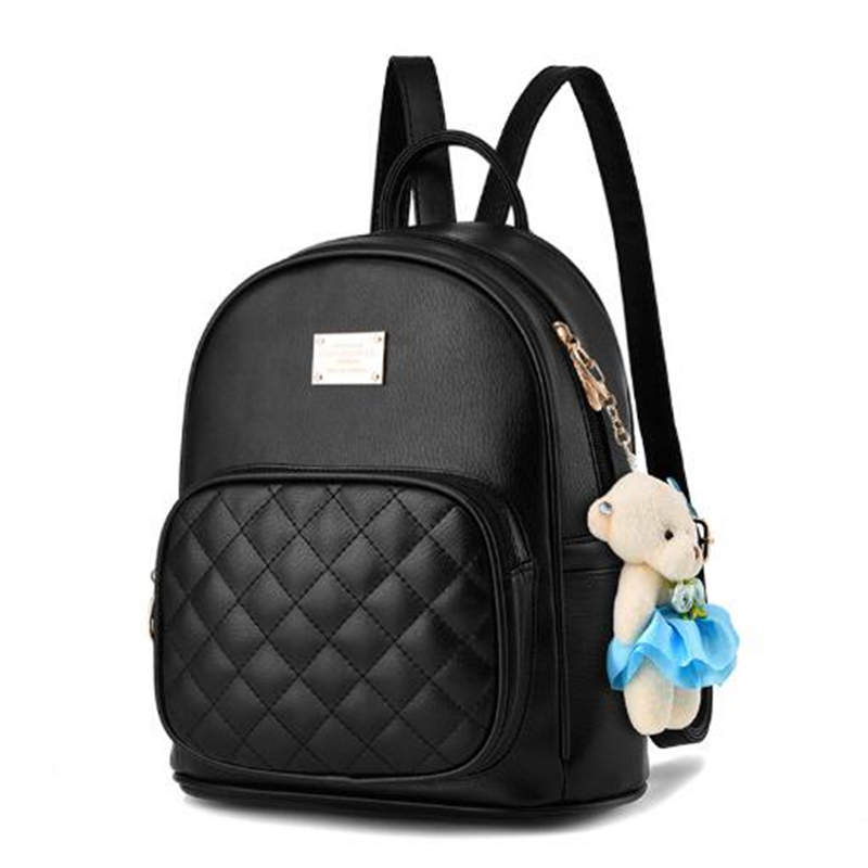 где купить 2017 New Women Leather Backpacks Students School bags for Girls Teenagers Travel Rucksack mochila Candy Color Small Shoulder Bag по лучшей цене