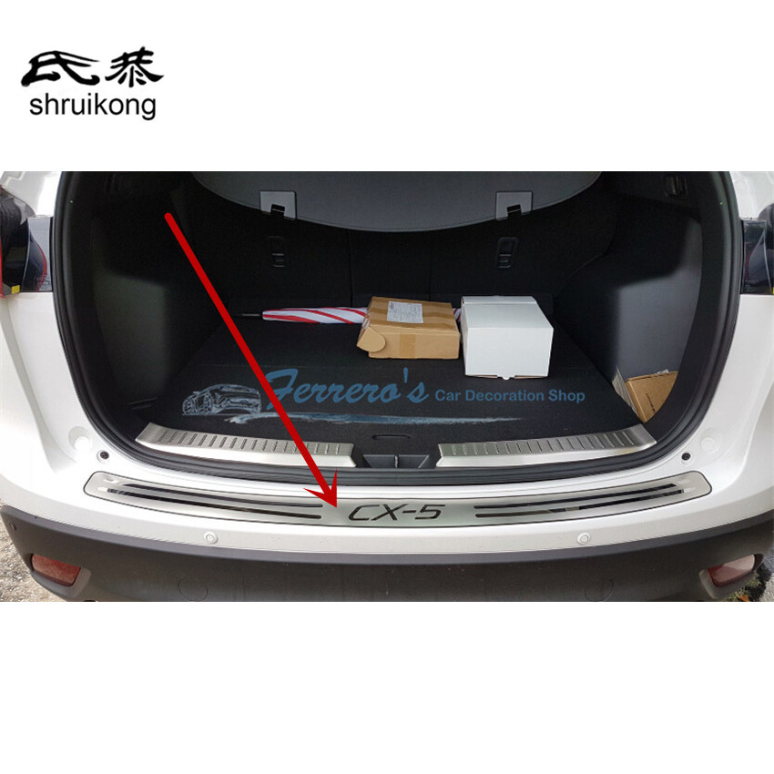 Car styling for 2012-2013 2014 2015 Mazda CX-5 Stainless Steel back rear trunk Sill Scuff Plate Protection peda fit for volkswagen vw tiguan rear trunk scuff plate stainless steel 2010 2011 2012 2013 tiguan car styling auto accessories