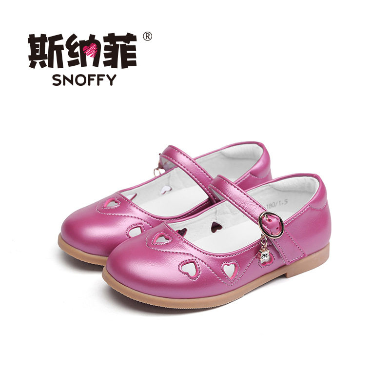 Snoffy Hollow Heart Kids Shoes For Girl Dress Sandals Genuine Leather Children Party Shoe 2017 Spring Single Girls Shoes TX291