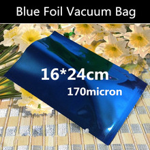 100pcs 16x24cm High Quality 170micron Blue 3 Sides Mylar Bags Aluminizing Foil Vacuum Foil Bag Heat sealing Bag