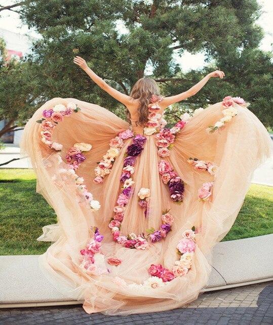 Свадебные платья Sposa старинные Розовые Цветы Свадебное Платье 2017 Сексуальная Один shoulde Тюль На Заказ Бальное платье Свадебные Платья