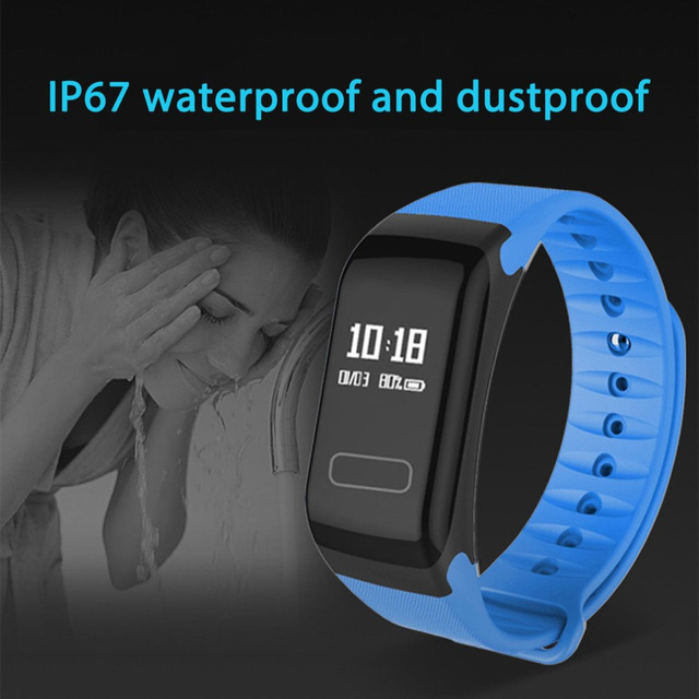 F1 Pedometers Bluetooth Smart Bracelet Heart Rate Fitness Tracker Oximetry Blood Pressure Monitor IP67 Waterproof Sports Watch
