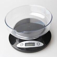 Báscula Digital LCD balanza de cocina balanzas electrónicas paquete pesos de alimentos equilibrio para cocina con Bol (5000g x 1g)