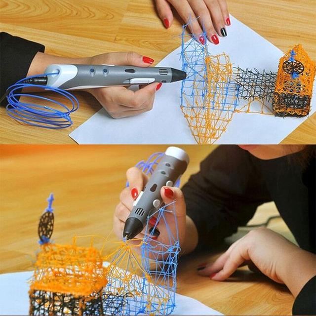 Alta calidad de impresión 3d pen1.75mm abs/pla filamento de smart 3d dibujo a pluma pluma + envío + adaptador regalo creativo para niños de diseño de pintura