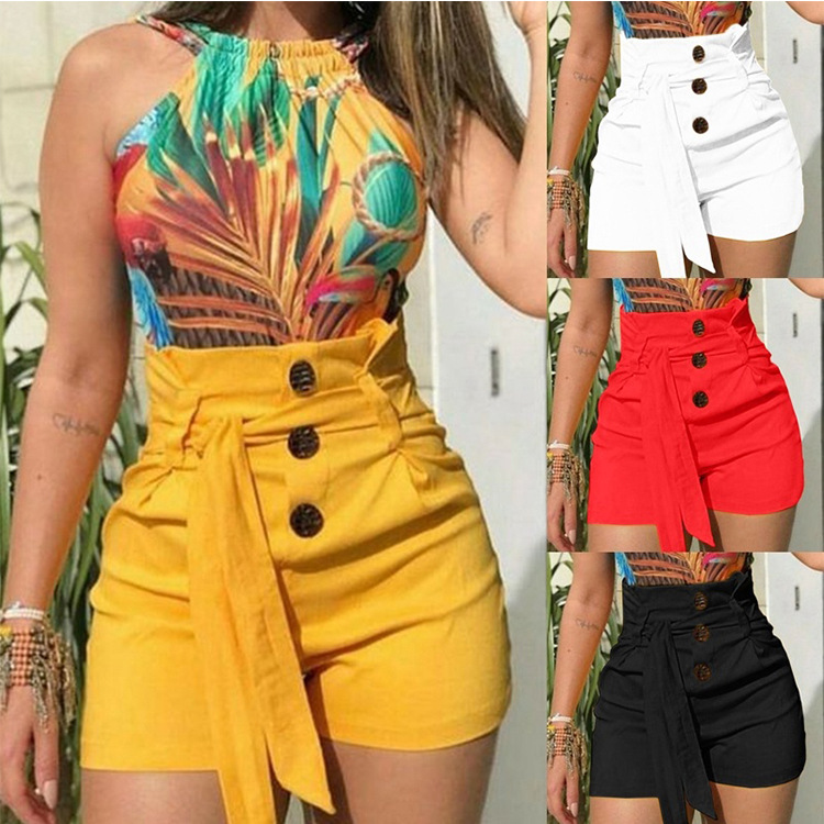 2020 NEW Womens Ladies High Waist Summer Casual Solid Beach Belt Hot Skinny Shorts Black Red White Yellow