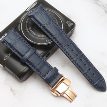 Quality Watchband Genuine Leather Watchband14 19 20 21 22mm dark Blue watchbands strap silver Butterfly clasp Watch Accessories