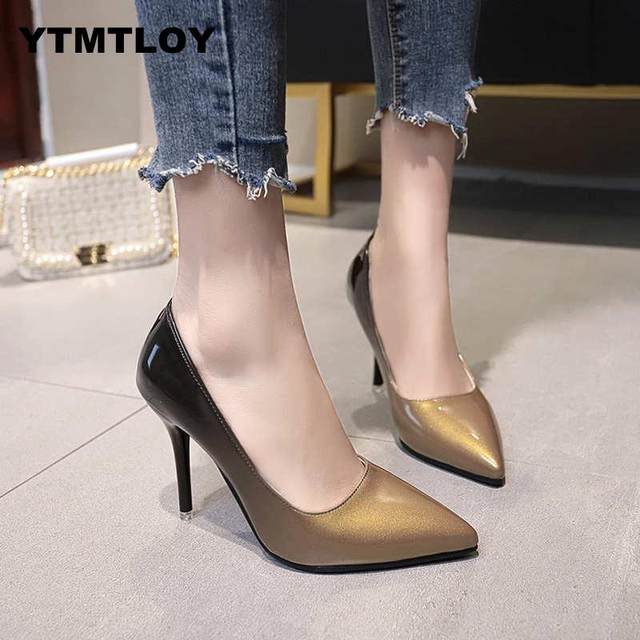 2019 HOT Women Shoes Pointed Toe Pumps Patent Leather Dress  High Heels Boat Shoes Wedding Shoes Zapatos Mujer Blue White 16