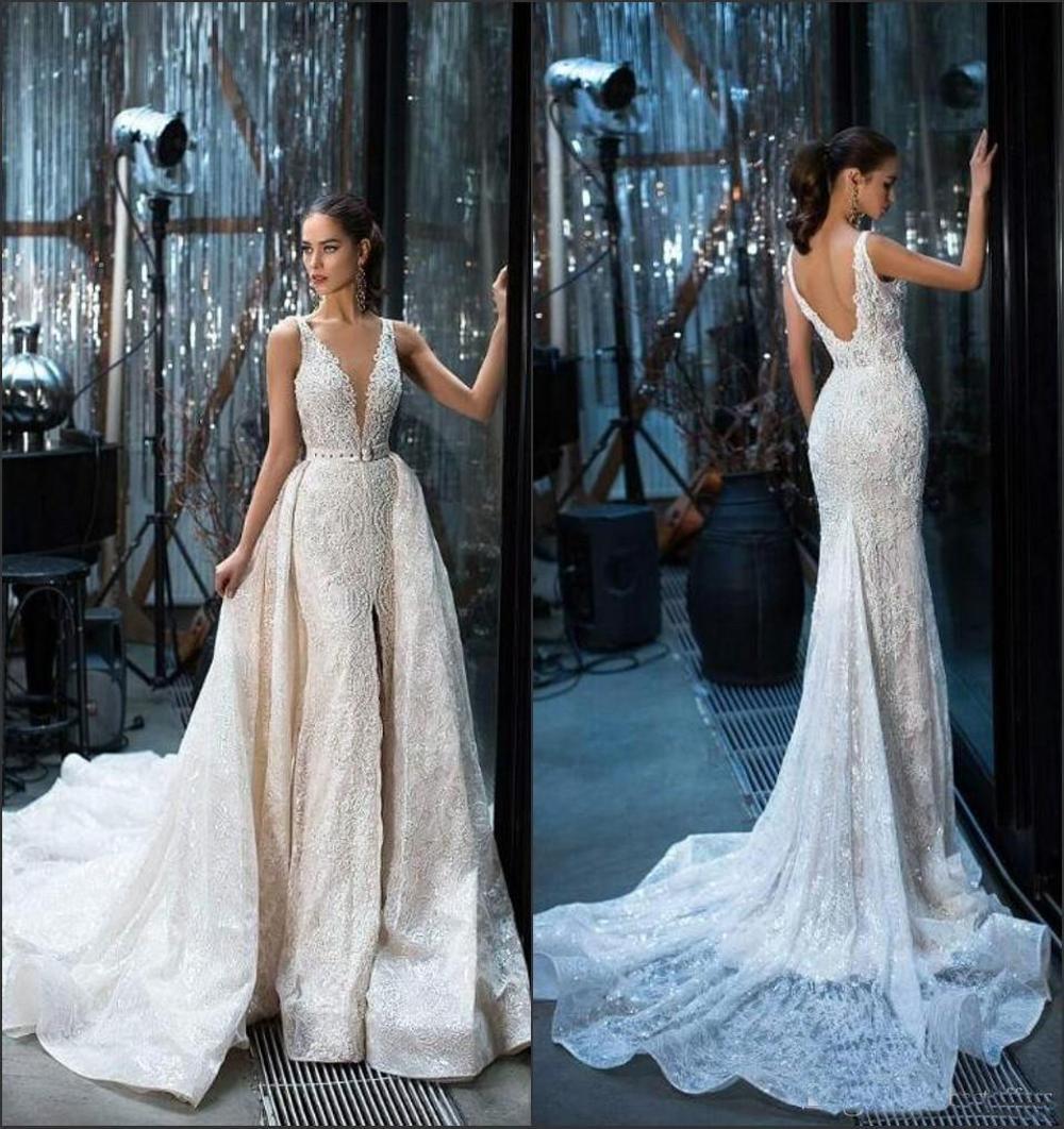 2019 Gorgeous Lace Wedding Dress With Detachable Train