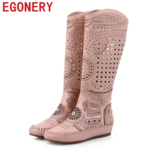 EGONERY shoes 2016 new heel sandals woman fashion summer boots soft genuine leather round toe knee high hollow boots revit shoes