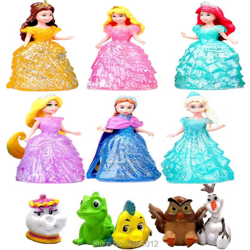 9CM Magiclip Princess Dolls Gliter Mermaid Statue Magic Clip Dress Elsa Anime Action Figures With Little Pet Figurines Kids Toys