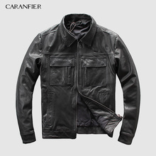 CARANFEIR DHL Free Shipping Mens Genuine Leather Jacket New Style Clothes Motor Biker 100% Cowhide Jackets S-5XL