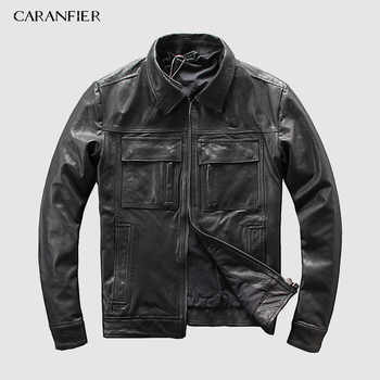 CARANFEIR DHL Free Shipping Mens Genuine Leather Jacket New Style Clothes Motor Biker 100% Cowhide Genuine Leather Jackets S-5XL - DISCOUNT ITEM  35% OFF All Category