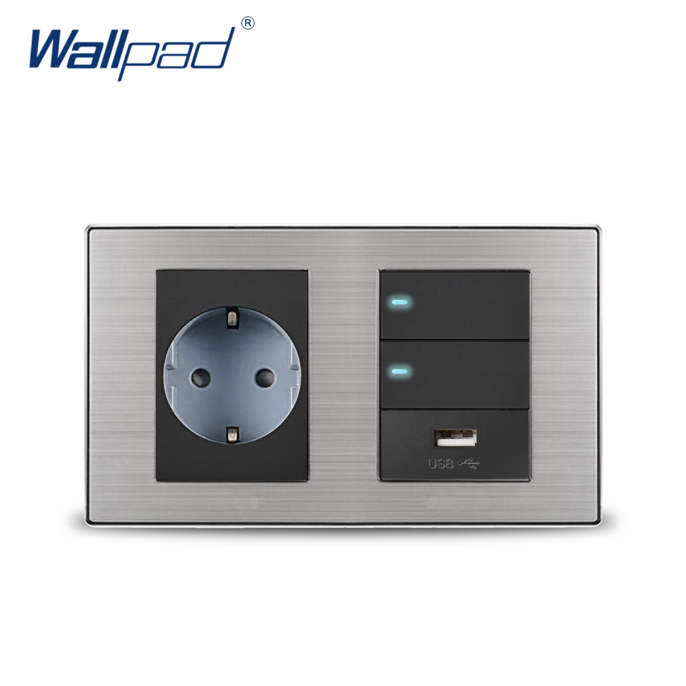 2019 Wallpad EU German Socket & 2 Gang 2 Way Switch & USB Charger 5V 1000mA Wall Power Charger Satin Metal Panel