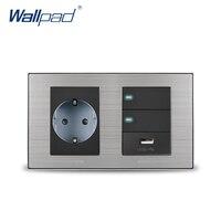 2019 Wallpad EU German Socket & 2 Gang 2 Way Switch & USB Charger 5V 1000mA Wall Power Charger Satin Metal Panel
