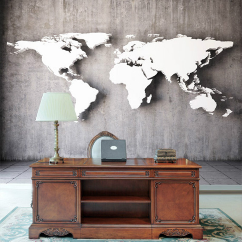 European Style Vintage 3D Stereoscopic World Map Gray Cement Wall Mural Wallpapers For Walls 3D Living Room Decor Wall Paper 3D