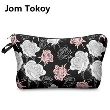 Jom Tokoy 2017 New Fashion 3D Printing Women Flowers Fashion Brand Travel Makeup Case Cosmetic Bags