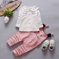 New 2016 Autumn Baby Girl Winter Clothes Sets Blouse Mouse Strap Pants 2pcs Children Clothing Set