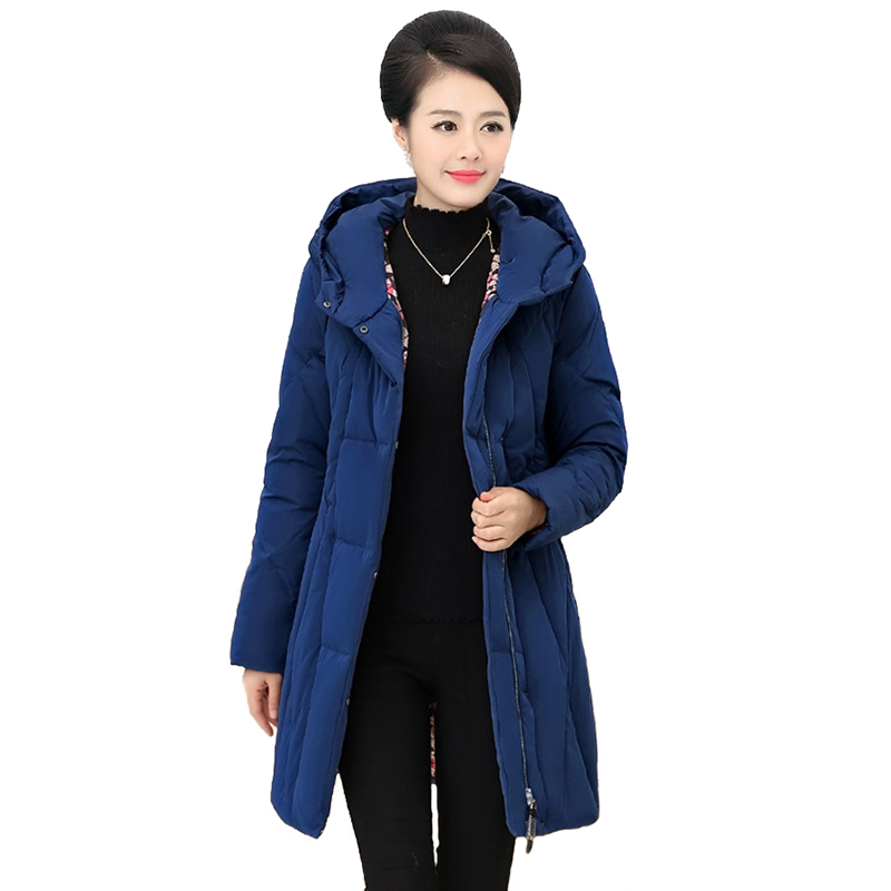 New Middle aged Women   Down   jacket 2019 Winter Parkas Thick Warm Hooded Tops Slim Female Plus size 5XL White duck   down     Coats   2296