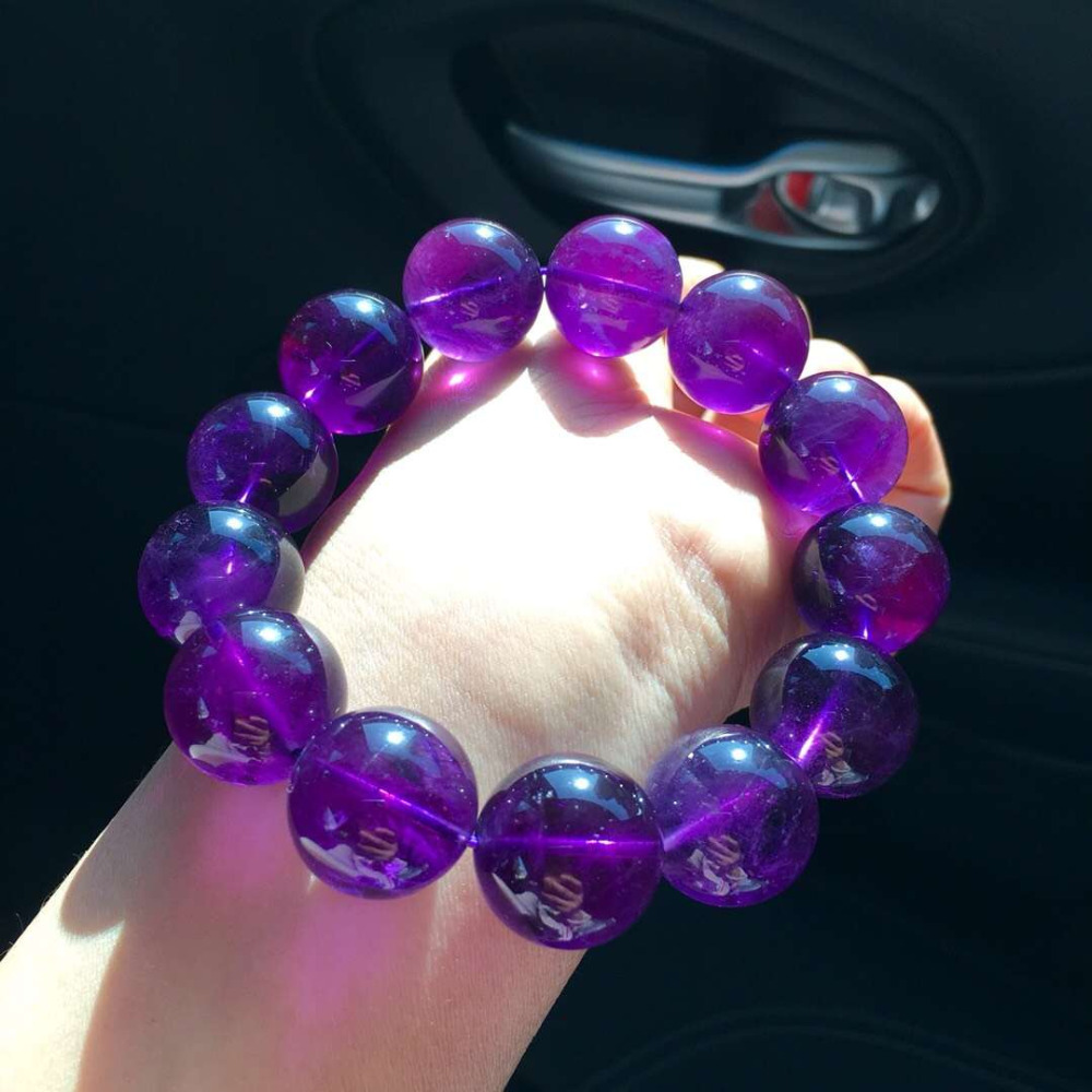 Genuine Natural Amethyst Quartz Deep Purple Crystal Round Big Beads Stretch  Bracelet 18mm AAAAA -in Bracelets & Bangles from Jewelry & Accessories on  ...